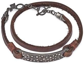 Armenta Blackened Sterling Silver & Leather Old World Champagne Diamond Bar Wrap Bracelet