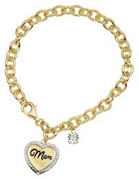 Forever New Gold Over Sterling Silver Diamond MOM Heart Charm Bracelet 7.25 Inch