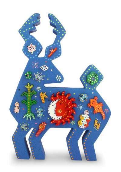 Huichol Blue Deer Unique Wood Blue Deer Sculpture Mexican Folk Art