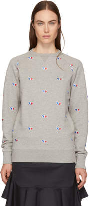MAISON KITSUNÉ Grey All-Over Tricolor Fox Sweatshirt