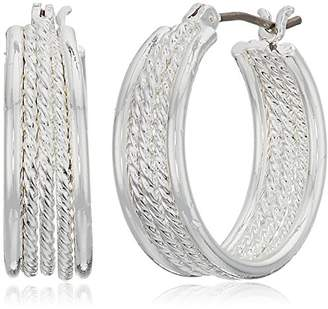 Chaps Women's tone 22mm Wide Chain Set Click it Hoop Earrings