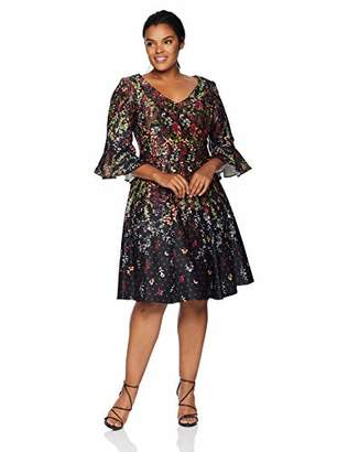 Gabby Skye Women's Plus Size 3/4 Bell Sleeve V-Neck Scuba Fit and Flare Dress