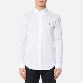 Men's Long Sleeve Oxford Pique Shirt White
