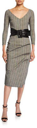 Chiara Boni V-Neck 3/4-Sleeve Belted Herringbone Dress