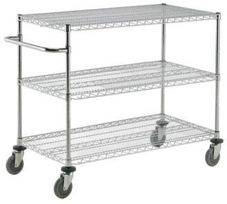 Nexel Adjustable Wire Shelf Utility Cart with 2 Braking Casters