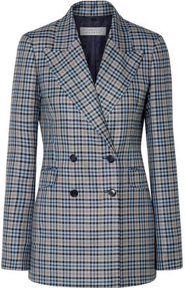 Gabriela Hearst Angela Checked Silk And Wool-blend Blazer - Navy
