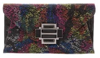 Kara Ross Lizard-Trimmed Multicolor Glitter Flap Clutch Black Lizard-Trimmed Multicolor Glitter Flap Clutch