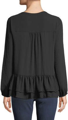 Pleione Long-Sleeve Lace-Trim Tiered Peasant Blouse