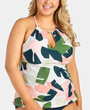 Rosalie Raisins Curve Trendy Plus Size Juniors' South Pacific Underwire Tankini Top Women's Swimsuit