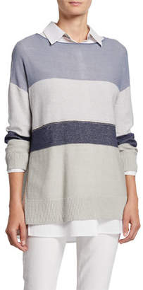 Lafayette 148 New York Chain Embellished Colorblock Boat-Neck Sweater