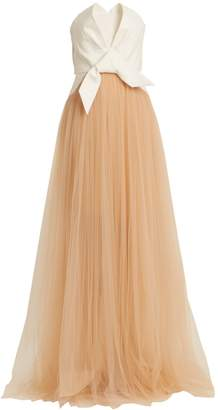DELPOZO Draped front strapless fil-coupé and tulle gown