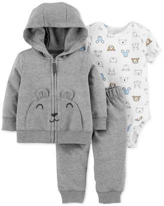 Carter's Baby Boys 3-Pc. Cotton Bear Hoodie, Animal-Print Bodysuit & Pants Set