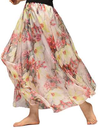 WSLCN Womens Floral Printing Chiffon Long Skirt Elastic Waist Beach Skirt with Lining