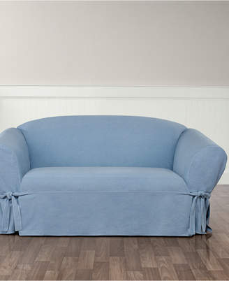 Sure Fit Authentic Denim One Piece T-Cushion Loveseat Slipcover