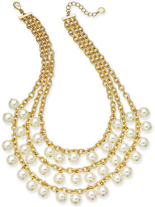 """Charter Club Gold-Tone Imitation Pearl Triple-Row Statement Necklace, 17"""" + 2"""" extender, Created for Macy's"""