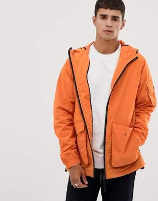 Bellfield lightweight hooded jacket in orange