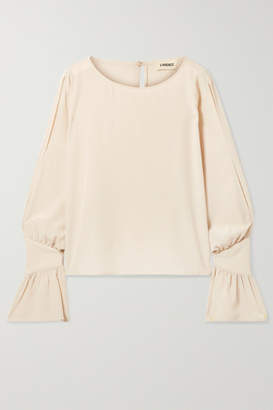 L'Agence Gianne Ruffled Silk-crepe Blouse - Cream