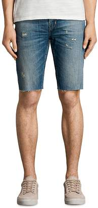 ALLSAINTS Ildham Switch Slim Fit Jean Shorts in Indigo Blue $125 thestylecure.com
