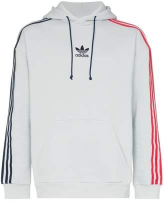 adidas contrasting striped sleeves hoodie