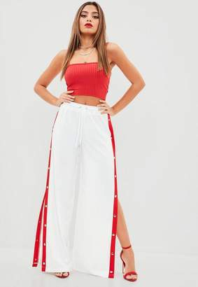 Missguided White Popper Side Wide Leg Joggers, White
