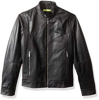 Versace Men's Leather Racer Jacket