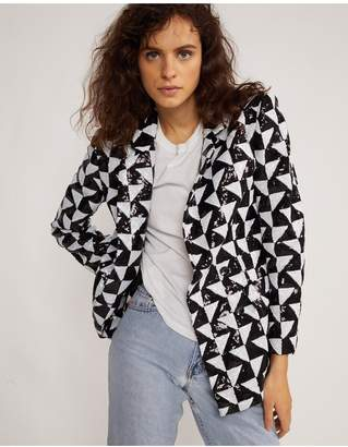 Cynthia Rowley Illusion Geometric Sequin Blazer