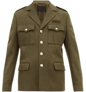Prada Patch Pocket Pressed Wool Utility Jacket - Mens - Green