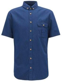 BOSS Hugo Geo-Patterned Sport Shirt, Slim Fit Elibre XXXL Dark Blue