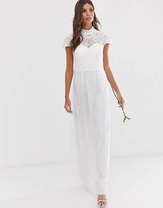 Little Mistress bridal embellished lace high neck bodice cap sleeve maxi dress