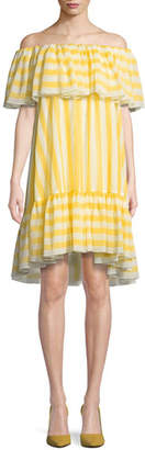 Tadashi Shoji Striped Flounce Ruffle Off-the-Shoulder Dress