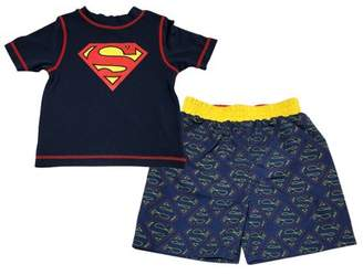 Superman Baby Toddler Boy Rashguard Top & Swim Trunks, 2pc Set
