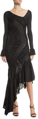 Roberto Cavalli Long-Sleeve Asymmetric V-Neck Ruched Jersey Gown