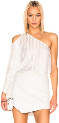 Mason by Michelle Mason One Sleeve Cut Out Top in Ivory | FWRD
