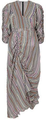 Preen by Thornton Bregazzi checkerboard gathered detail dress