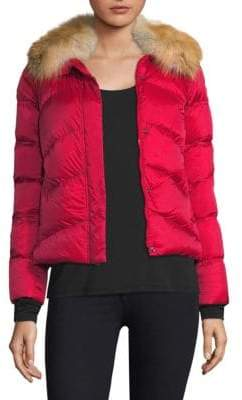 Post Card Quilted Fox Fur Jacket