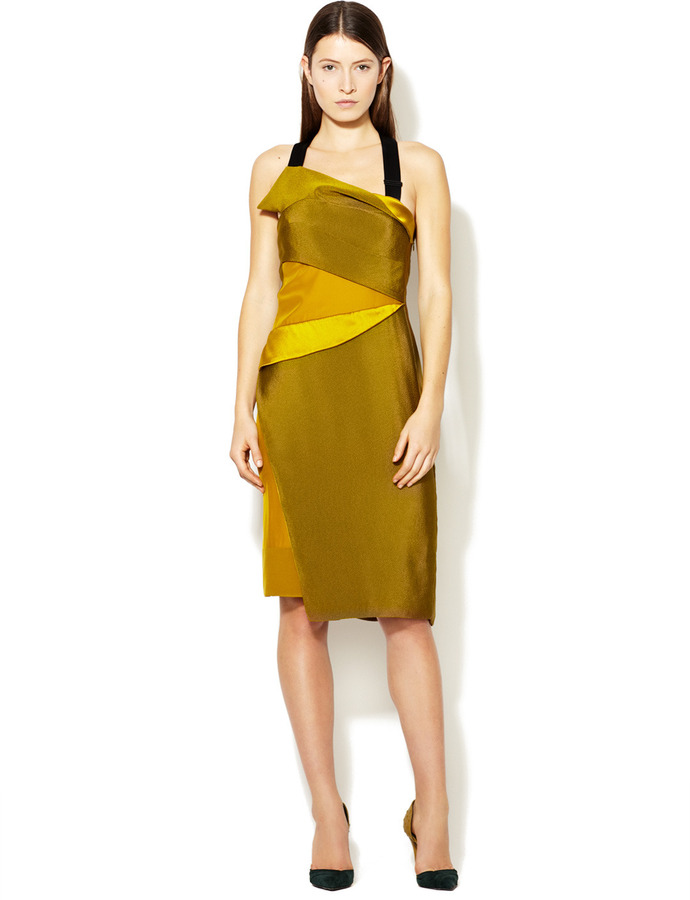 Narciso Rodriguez Silk Tiered Panel T-Back Dress