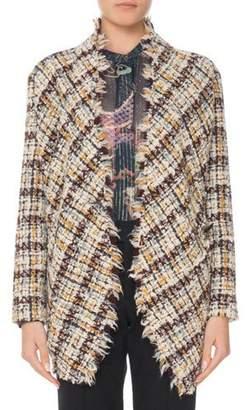 Isabel Marant Asymmetric One-Button Multi-Tweed Jacket