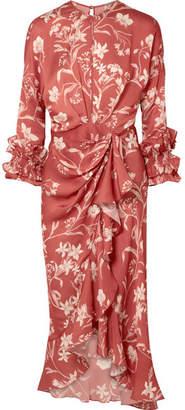 Johanna Ortiz Botanical Gardens Ruffled Wrap-effect Silk-satin Twill Midi Dress - Brick