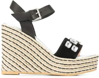Pollini embellished wedged sandals