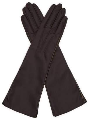 Prada Nylon And Leather Gloves - Womens - Black