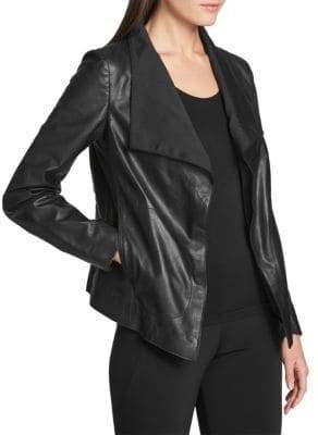 Donna Karan Leather Open-Front Jacket