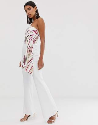 Goddiva bandeau sequin swirl jumpsuit with wide leg in pink and white