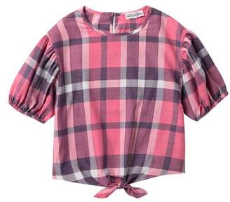 Ten Sixty Sherman Plaid Tie Front Short Sleeves (Big Girls)