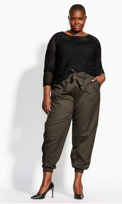 City Chic Citychic Relaxed Tie Pant - khaki