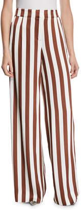 Oscar de la Renta Vertical-Stripe Wide-Leg Viscose Satin Pants