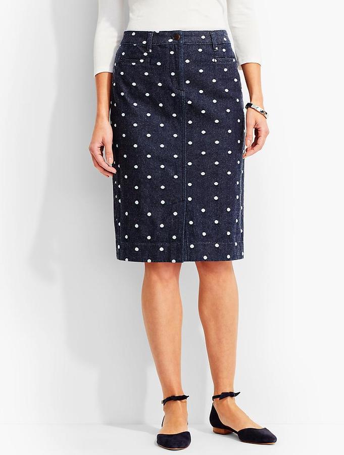 The Denim Pencil Skirt-Polka-Dot Jacquard