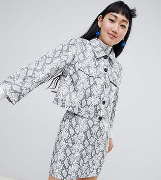 Monki faux leather snake print jacket in gray