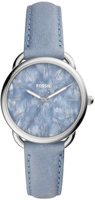 Fossil Women's Tailor Powder Blue Leather Strap Watch 35mm
