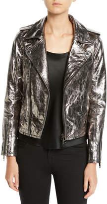 Hudson Metallic Zip-Front Leather Moto Jacket
