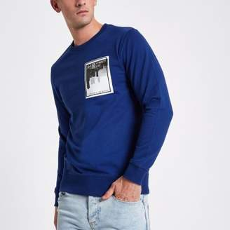 River Island Only and Sons blue printed sweatshirt